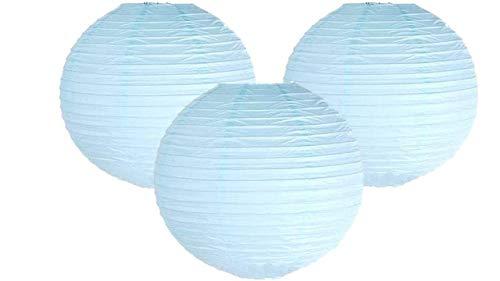 Lot de 3 lanternes en papier pour fête d'anniversaire, fête prénatale, mariage, bleu bébé, 10\