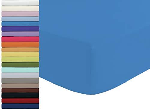 Tata Home Lenzuolo sotto con Angoli ed Elastici 100% Cotone Misura cm 90x210 Letto Singolo Una Piazza Altezza Materasso cm 25 Colore Avio Made in Italy 57 Fili al cm2