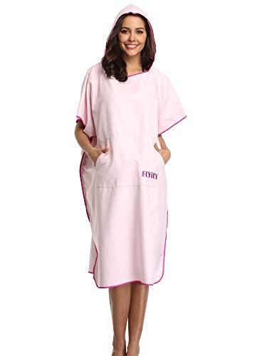 FLYILY ręcznik ponczo z mikrofibry z kapturem szlafrok kąpielowy do pływania i zmiany na plażę jeden rozmiar pasuje do wszystkich dorosłych (jasnoróżowy, L)
