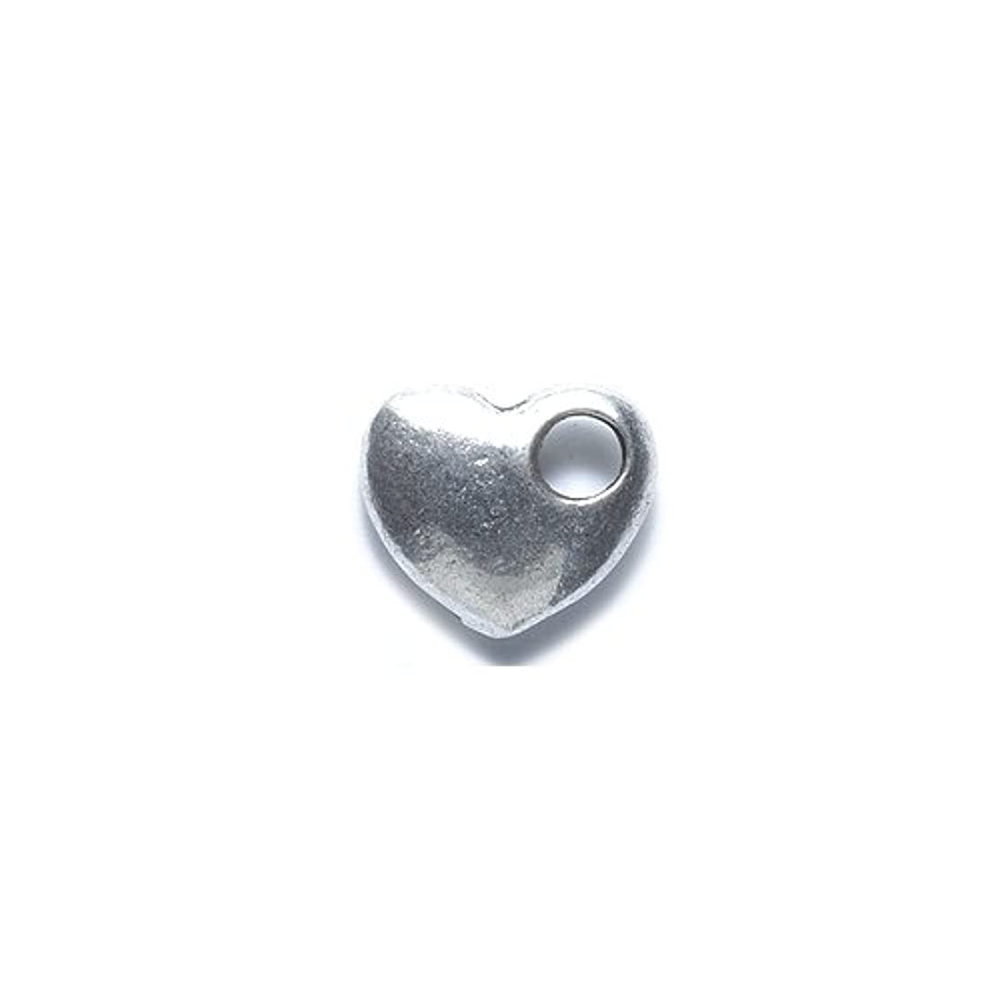 Shipwreck Beads Zinc Alloy Heart with Large Hole Charm, 11 by 13mm, Silver, 30-Pack