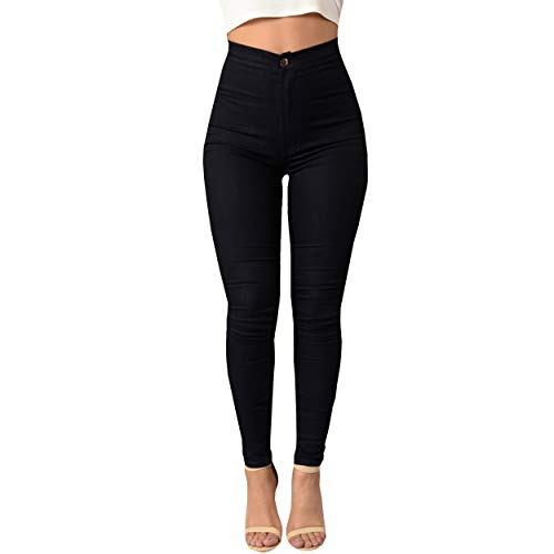 ZKOO Cintura Alta Pantalones Jeans Mujer Elástico Flacos Vaqueros Leggings Push up Mezclilla Pantalones Negro