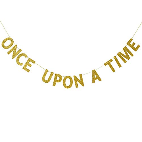 Once Upon A Time Bunting Banner,Wedding, Engagement, Bridal Shower, Birthday, Bachelorette Party Decorations Gold Glitter