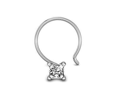 Anillo de hueso de nariz con diamante de corte princesa de 0,10 quilates 585 (14 k) de oro blanco