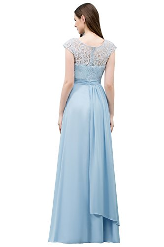 MisShow Abschlusskleider Lang Chiffon Spitzen Ballkleider Abendkleider mit Cap-Arm Maxilang Blau...