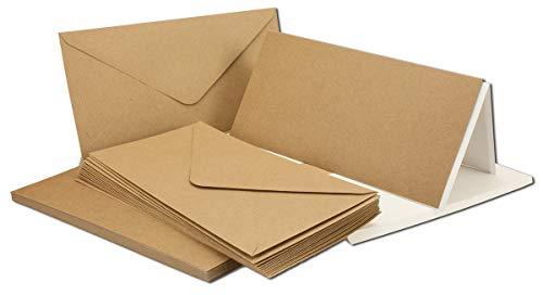 Kraft carta di biglietti, con buste & einlege Foglie   Set   biglietti di invito in carta riciclata marrone   DIN lungo post di schede   50 pezzi marrone