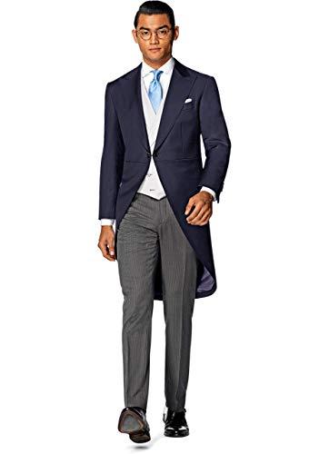 HOTK Uomo 3 Pezzi Smoking da Sposa Slim Fit Cappotto con Risvolto a Un Bottone per Prom Festa
