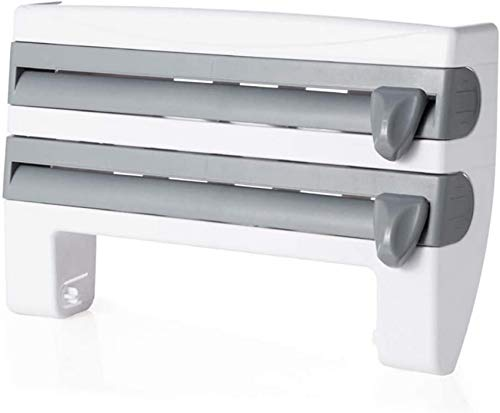 YLLN Soporte de película adhesiva de cocina Dispensador de rollo de estante 4 en 1 Estante de almacenamiento de película adhesiva de cocina multifuncional con cortador Estante de papel de aluminio Toa
