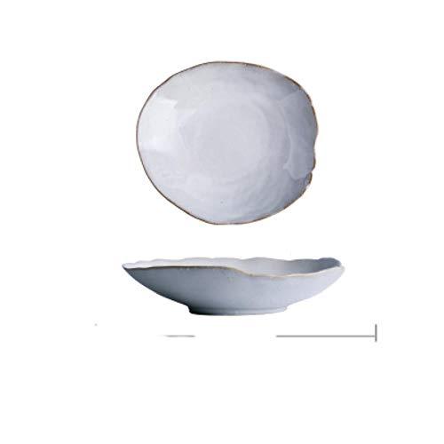 Estilo nórdico blanco cremoso irregular con detalles dorados cuencos de ensalada de arroz y plato plato plato poco profundo plato hondo para el hogar