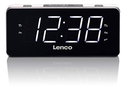 Lenco Radio-Wecker CR-18 Uhrenradio mit riesigem LED-Display (4,6 cm), dimmbar, 2 Weckzeiten (PLL UKW, USB-Lader, Dual-Alarm), weiß