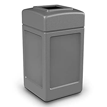 Commercial Zone 732101 Open-Top Indoor/Outdoor Square 42 Gallon Large Waste Trash Container Bin Gray