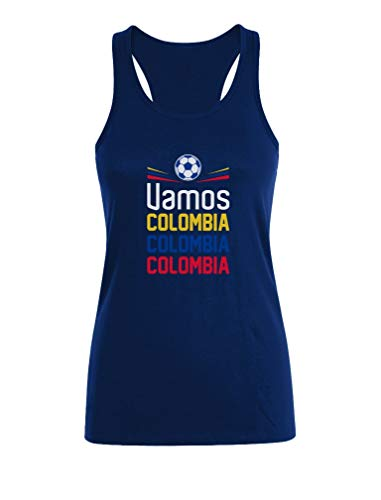 Camiseta sin Mangas para Mujer - Apoyemos a la Selección Colombia en el Mundial! Medium Azul Oscuro