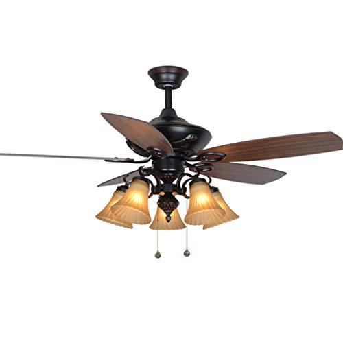 """Deckenventilator mit Beleuchtung Amerikanische Wohnzimmer Deckenventilator Licht Kabel Steuerung mit 5 handgefertigtem Glas Lampshade Fan Kronleuchter, 52\"""" Deckenventilator für Wohnzimmer Schlafzimmer"""