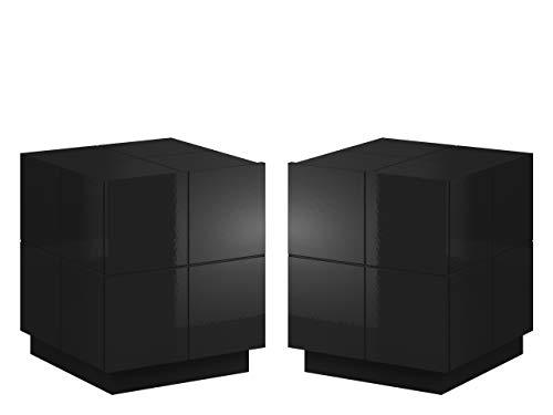 Nachttisch mit Schublade Wamoz 1S, Nachtkonsole, Nachtschrank, Nachtkommode, Beistelltisch, Schlafzimmerkommode (Schwarz Hochglanz, mit weißer LED Beleuchtung)