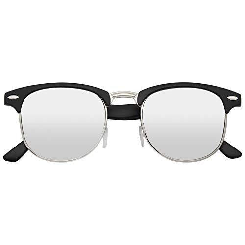 Emblem Eyewear - Classic Retro Half Frame 100% UV Blocking...