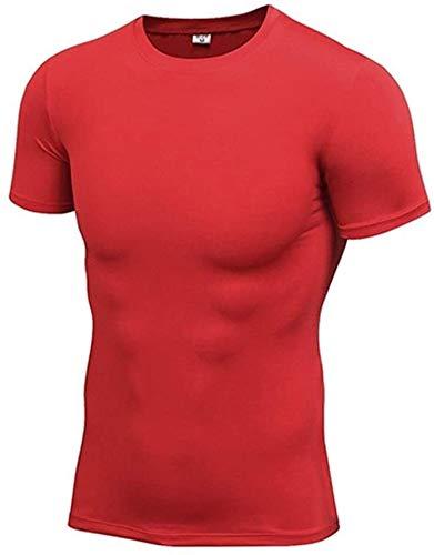QUETHIKK Compression à séchage Rapide Fitness T-Shirt Running Jersey Vêtements d'entraînement Séchage Rapide Tops Sport Shirt Hommes Gym Shirt XL T-Shirts Rouges