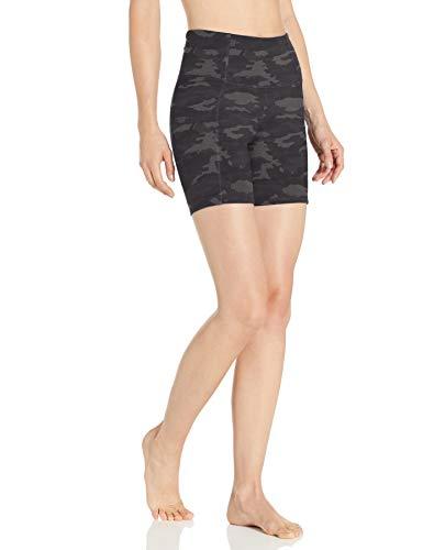 "Amazon Brand - Core 10 Women's All Day Comfort High Waist Yoga Short Side Pockets – 5"", Heather Grey Camo, X-Large"