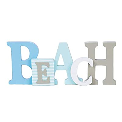 """1 X Beach Word Sign - Tropical Beach Decor - Great for Office - Table Top or Wall Hanging - 12.5"""" Long 5"""" Tall"""