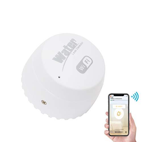 Galapara WiFi Wasseralarm Wassersensor, Wasserlecksensor Wasserleck Einbruchmelder Alarm Wasserstandüberlaufalarm Tuya Smart Life App-Fernbedienung für die Sicherheit zu Hause