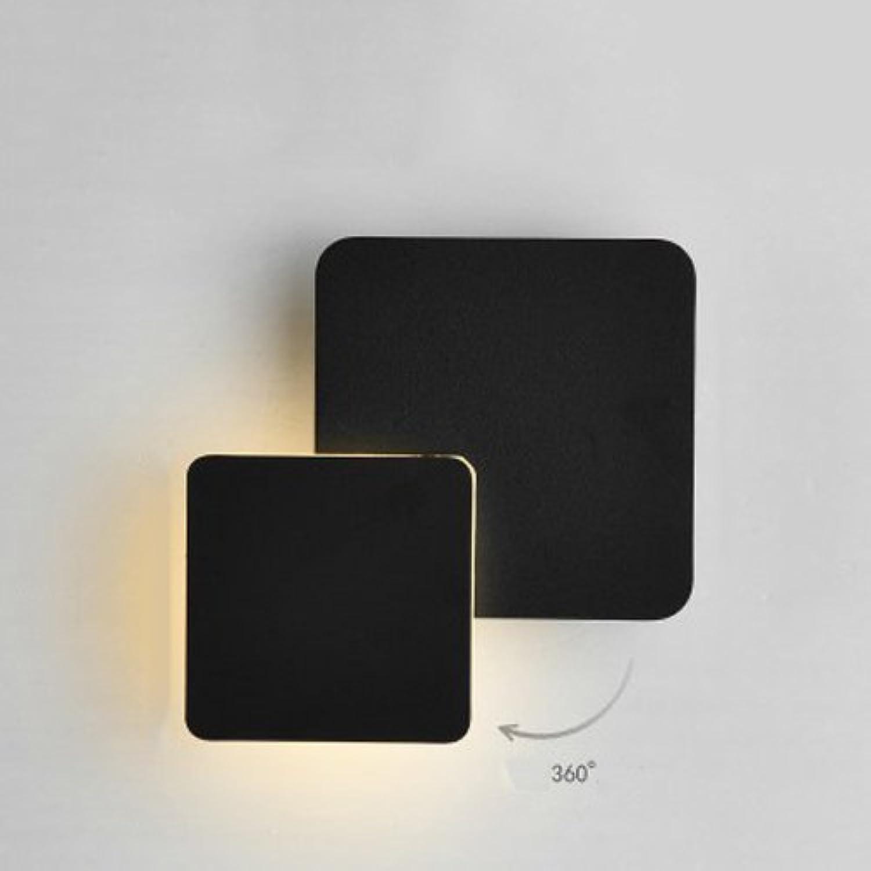 ●  360 & deg; Einstellbare LED Wandleuchte Platz Runde Metall Wandleuchte Kreative Kunst Wohnzimmer Esszimmer Treppe Gang Wandleuchten Mond Wandleuchte (Farbe  Schwarz-Quadrat-Warmes Licht) ●