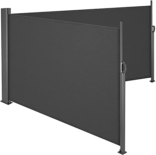 femor Doppelseitenmarkise Alu 600 x 160 cm (L x H) - Ausziehbar Sonnenschutz Sichtschutz für Balkon, Terrasse, Garten, Seitenwandmarkise, Seitenrollo rauchgrau