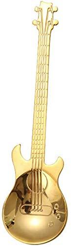 Jacket Cucharas de acero inoxidable para guitarra, arco iris, cuchara de té, cubiertos (negro), color dorado