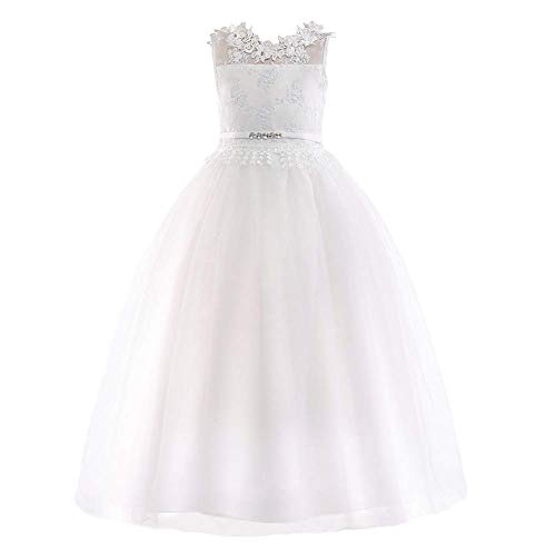 OBEEII - Vestido para niñas, vestido de encaje floral sin mangas, vestido...