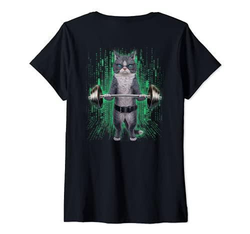 Mujer Levantamiento de pesas de gato bicolor en el gimnasio Camiseta Cuello V