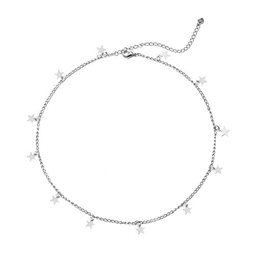 Star Choker Necklace Gold Star Necklace for Women Dainty Choker Necklace Jewelry Gift (C:Silver)