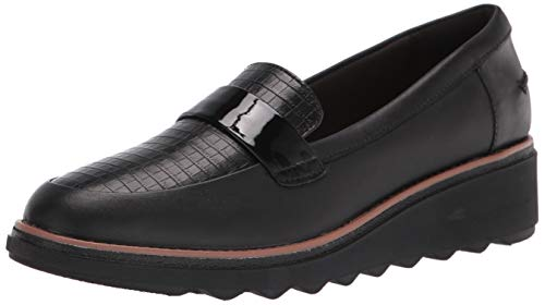 Clarks womens Sharon Gracie Penny Loafer, Black/Leather Croc, 8 US