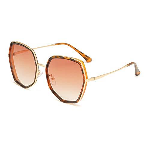 Gafas de Sol Señoras Hexágono Marco Grande Sunglasse Metal Mujeres Diseñador De La Marca Moda Sin Montura Lentes Transparentes para El Océano Gafas De Sol Grandes Protección UV C1