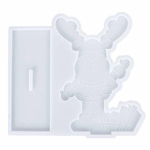 Ruby569y Molde de fundición, molde de jabón con forma de alce fácil de liberar ampliamente aplicado 3D lindo ciervo de Navidad molde para el hogar - transparente