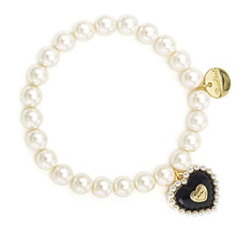 Elastische armband met parels en harten, zwart, art. 911257P