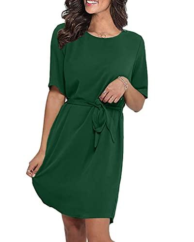 LilyCoco Damen Kleid Elegant Herbst Winter Sexy Kleider für Damen Mädchen Langarm Kurzarm Minikleid mit Gürtel Knielang Grün XL