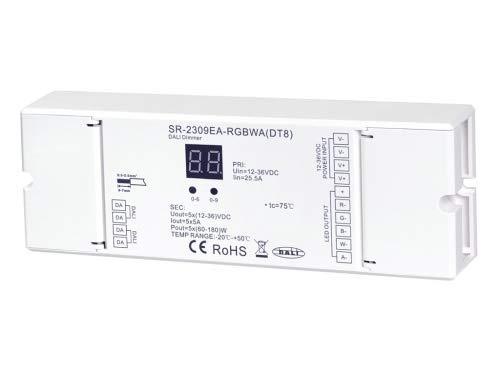 YULED SR-2309EA-RGBCCT (DT8) DALI LED Controller/Dimmer 5-Kanal 5x5A max. 25A 12-36V für RGBCCT LED Streifen