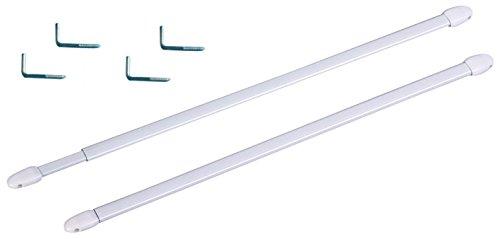 Lot de 2 Tringles Rideaux Ovale Extensible Blanc 70x120cm Voilage Décoration 712