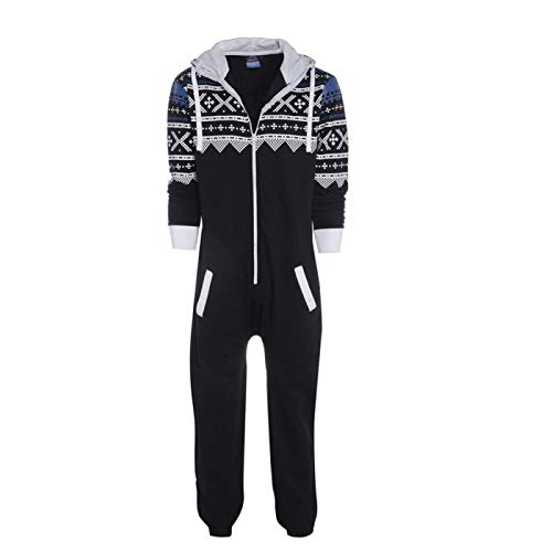 AHECZZ Pijama de una Pieza,Pijamas para Adultos Pijamas para Hombres Mono de una Pieza Ropa para el hogar XXL Negro