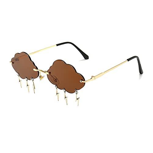 ZZDH Gafas de Sol Gafas de Sol sin Montura Mujeres Vintage Metal Personalidad Gafas de Sol para Mujer UV400 Regalo para Madres (Lenses Color : Brown)