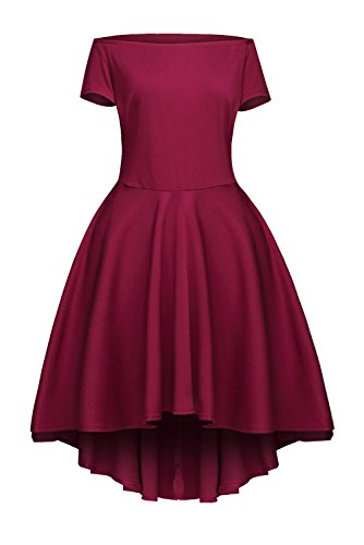 Sidefeel Women Off Shoulder Sleeve High Low Skater Dress Medium Wine Red