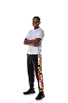 Twin Vision Activewear Maryland Flag Men s Fleece Jogger Pant  Black   X-Large