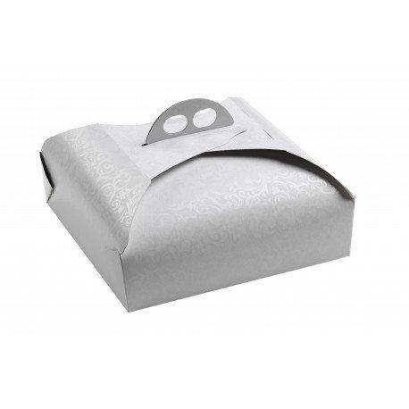 Dream' s Party Scatola Porta Torta in Cartone - per trasportare Dolci, Torte ECC. - Adatto per Torte e vassoi TONDI o Quadrati - Bianco Ramage (31 x 31cm)