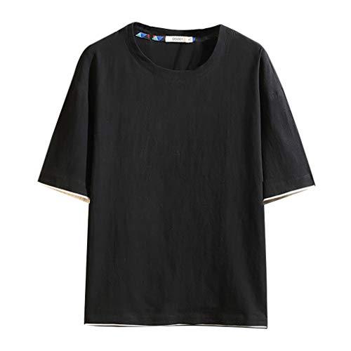 GreatestPAK Gefälschte Zwei Teile T-Shirt Herren Baumwolle Leinen Atmungsaktiv kurzärmelig Top Freizeit O-Ausschnitt Hemd,Schwarz,2XL