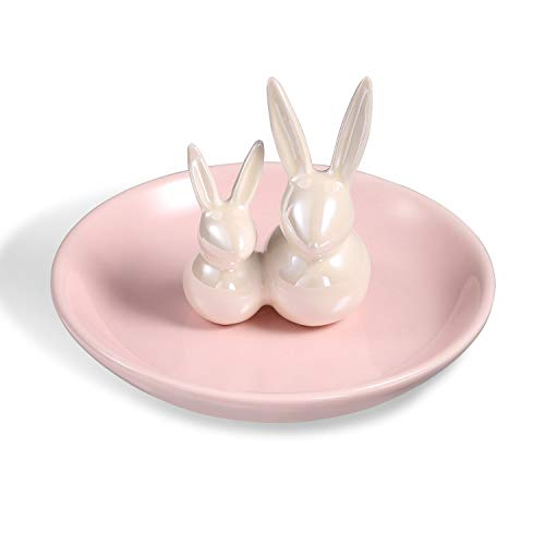 ROSA&ROSE Rabbits Ring Holder Jewelry Dish Organizer Display for Home Decor - Gifts for Mom, Aunt, Friends, Girlfriend, Birthday Wedding