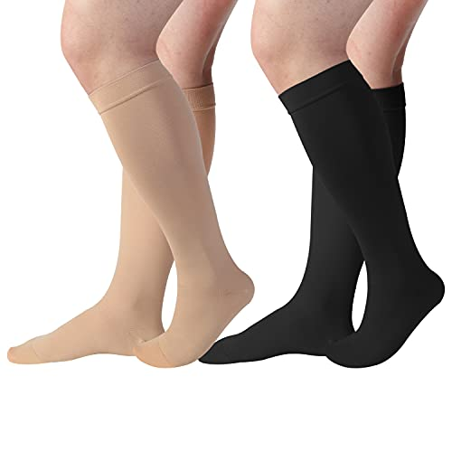 DICCO 2 Pairs Compression Socks Extra Wide Calf Plus Size 20-30mmHg Unisex Knee High Nurse Support Stockings for Women & Men