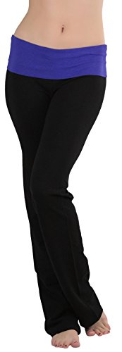 ToBeInStyle Women's Fold-Over Waistband Semi-Flare Yoga Pants - B. Royal - M