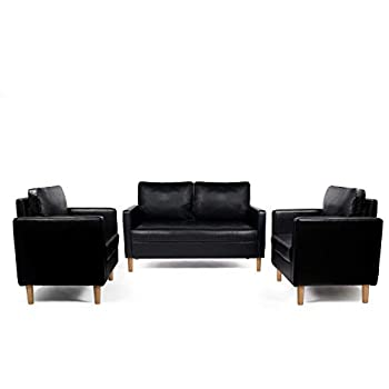 AILEEKISS Mid-Century Sectional Sofa Set Faux Leather Office 3 Pcs Couch Set with Armrest Modern Upholstered Loveseat Couches  1-Seater+1-Seater+2-Seater Black