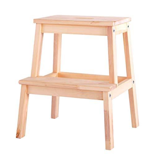 GUOXY Multifunktions-Holz-Utility-Hocker Mit 2 Treppen, Holztreppe Stuhl Mobiler Leiter Startseite Erweitern Werkzeug Garten Höhe 50Cm