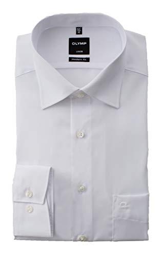 OLYMP Hemd Luxor, Weiß, Modern Fit, Bügelfrei, Knitterfrei, 100% Baumwolle, New Kent Kragen (48)