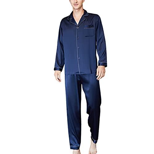 Pijama De Seda Pesada para Hombres Traje De Dos Piezas De Manga Larga Verano Color Sólido Pjs Set Plus Size Nightwear Nightgown Gift M-XXXL,Dark Blue,L