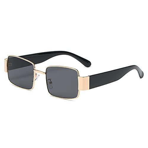 YHKF Gafas De Sol Cuadradas Steampunk para Mujer, Hombre, con Montura Grande Punk, Gafas De Sol, Decoración De Metal, Tonos, Vintage, Unisex, para Mujer, Anteojos-Gold_Black