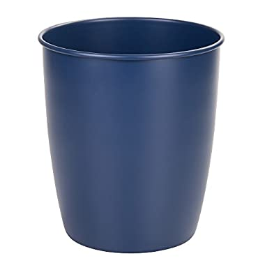 InterDesign Hamilton Metal Wastebasket Trash Can for Bathroom; Office; Kitchen - Matte Navy Blue